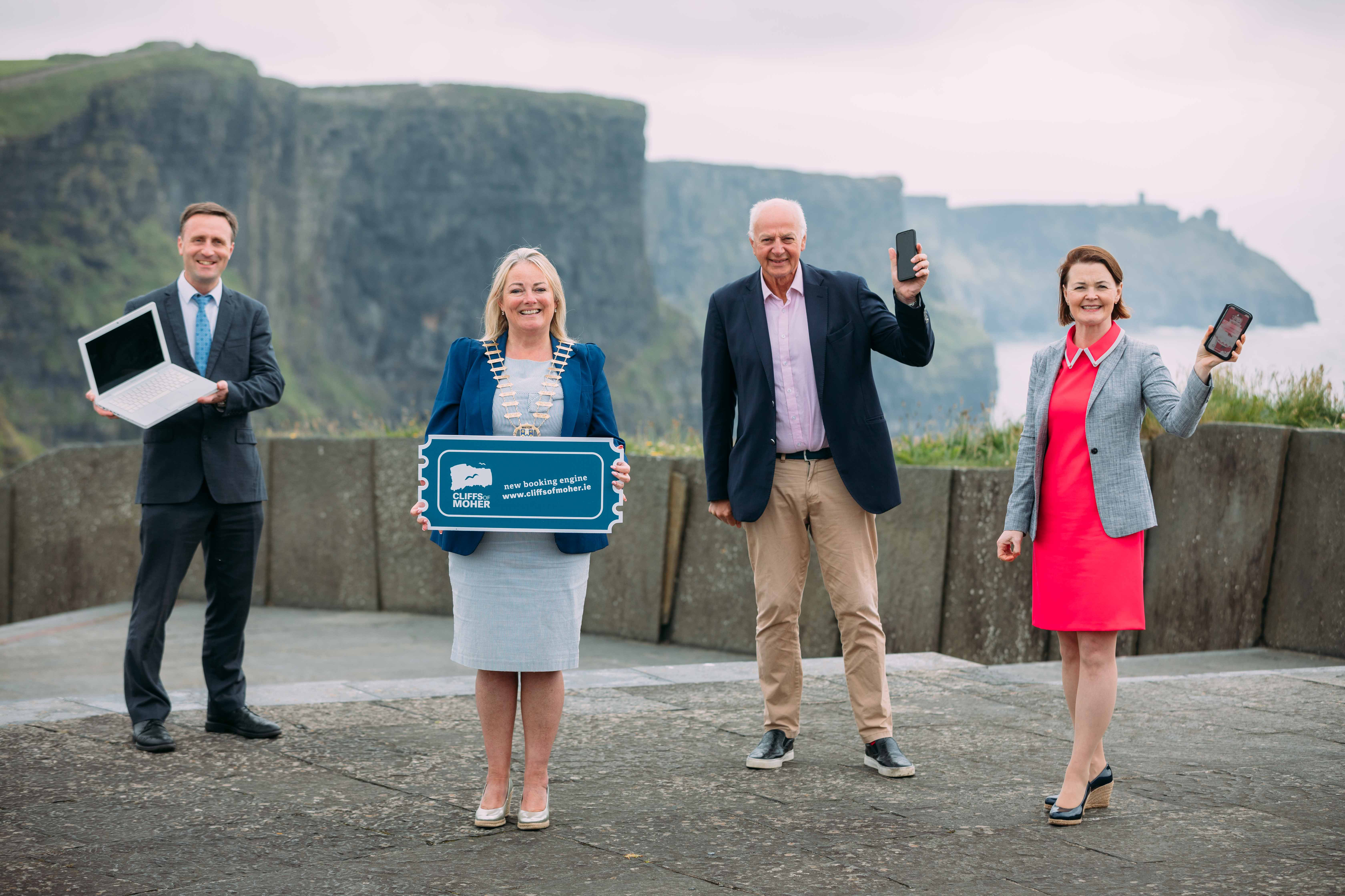 Pictured at the launch of the new online booking system for the Cliffs of Moher are (left to right) Leonard Cleary, Director of Services, Clare County Council; Cllr. Mary Howard, Cathaoirleach of Clare County Council; Bobby Kerr, Chairperson of the Board of the Cliffs of Moher Centre Ltd.; and Geraldine Enright, Director of the Cliffs of Moher Visitor Experience. Photo Eamon Ward