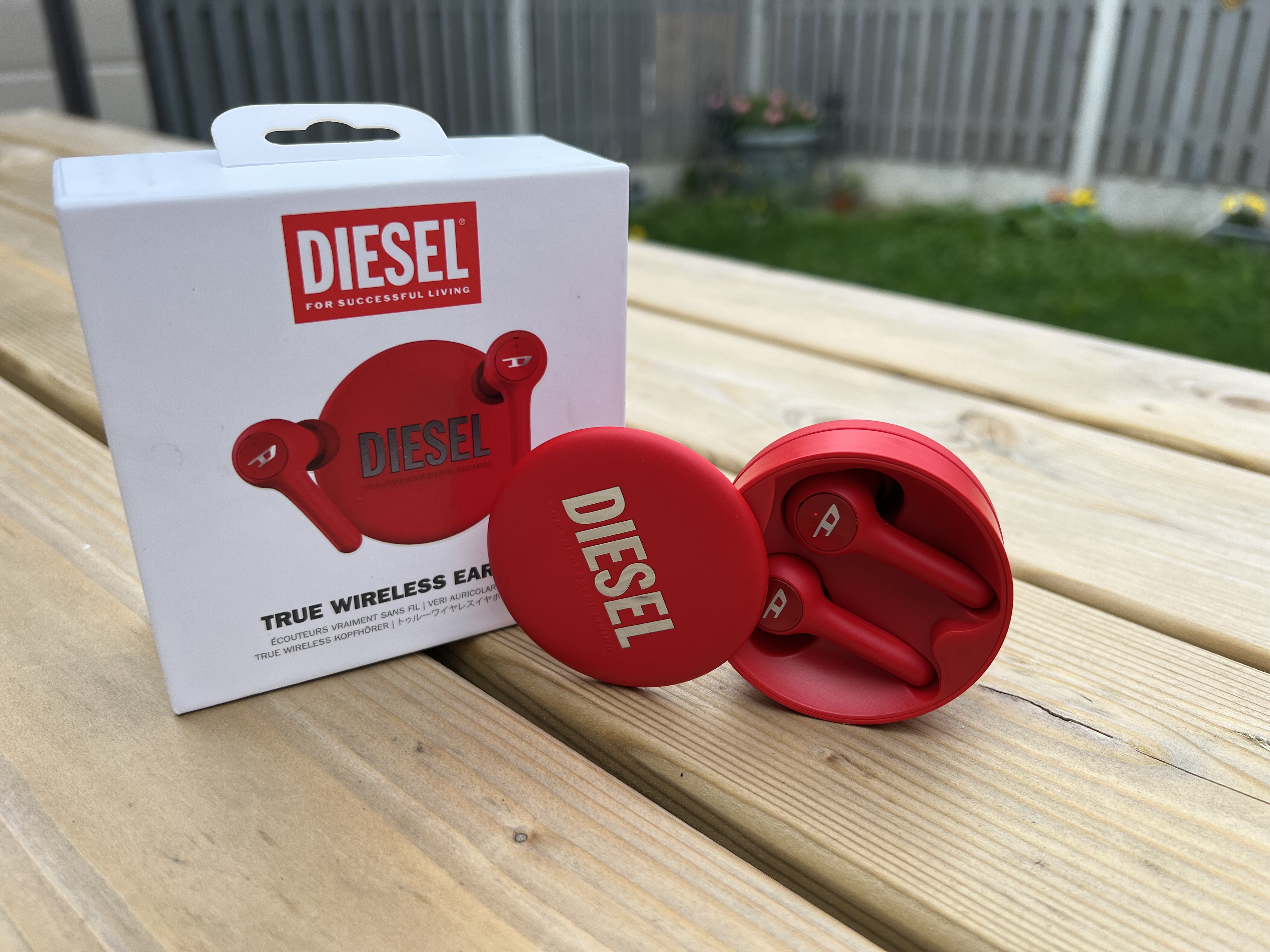 DIESEL earbuds in red techbuzzireland